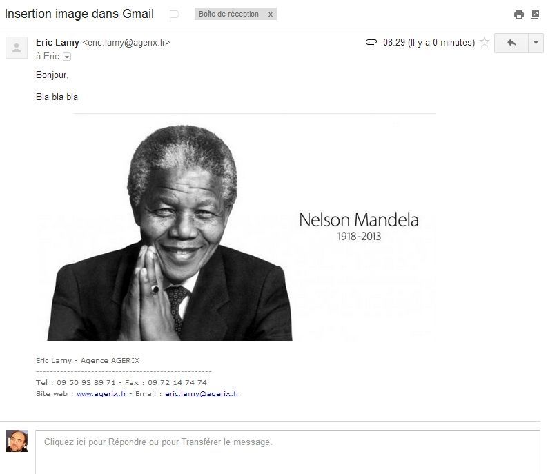 Insertion d'image dans gmail
